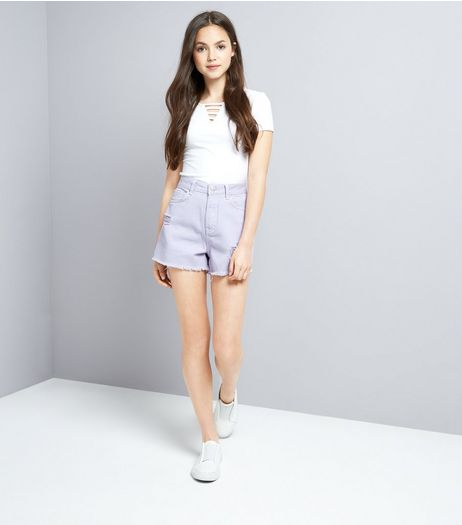 Teens Lilac Ripped Denim Shorts | New Look