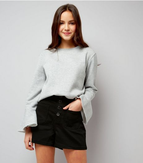 Teens Black High Waist Denim Shorts | New Look