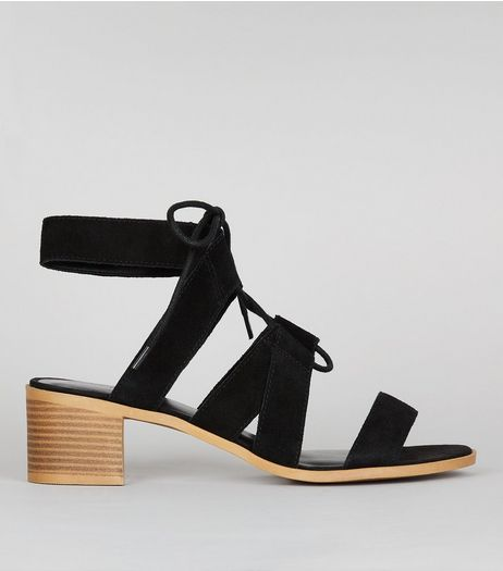 Black Suede Ghillie Block Heel Sandals | New Look