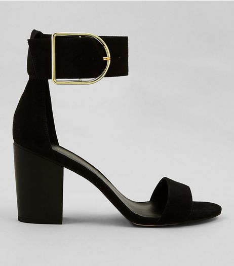 Black Suede Buckle Strap Heels | New Look