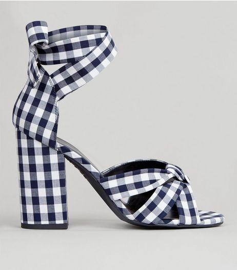 Black Gingham Tie Up Ankle Heeled Sandals | New Look