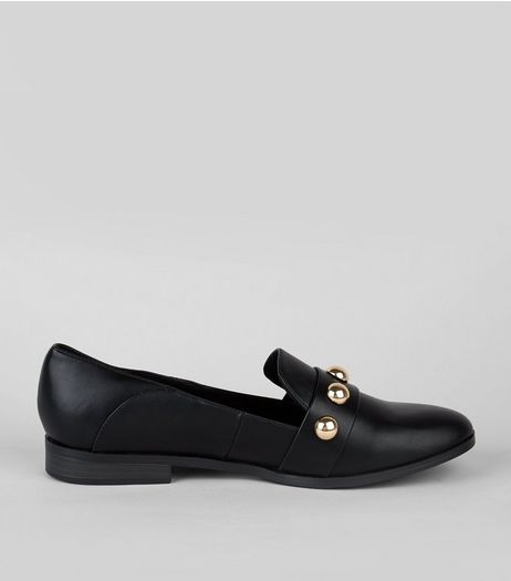 Black Studded Loafers | New Look