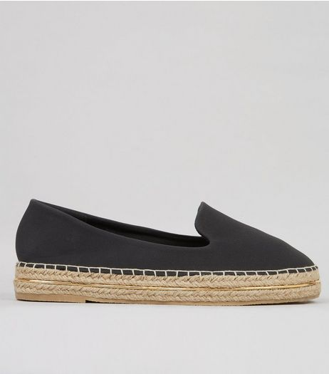 Black Suedette Metal Trim Espadrilles | New Look