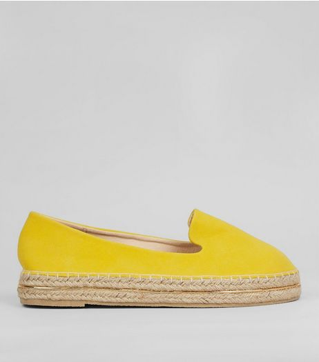 Yellow Suedette Metal Trim Espadrilles | New Look