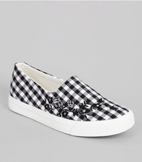 Black Gingham Floral Embroidered Plimsolls | New Look