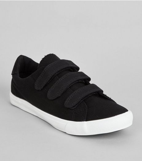 Black Canvas Triple Velcro Strap Plimsolls | New Look