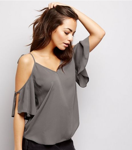 Dark Grey Tie Strap Cold Shoulder Ring Sleeve Top | New Look