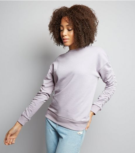 Lilac Gathered Sleeve Sweater  | New Look