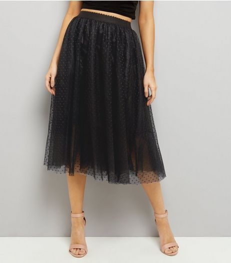 Black Spot Print Mesh Tulle Midi Skater Skirt  | New Look