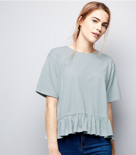 Mint Green Peplum Hem T-Shirt  | New Look