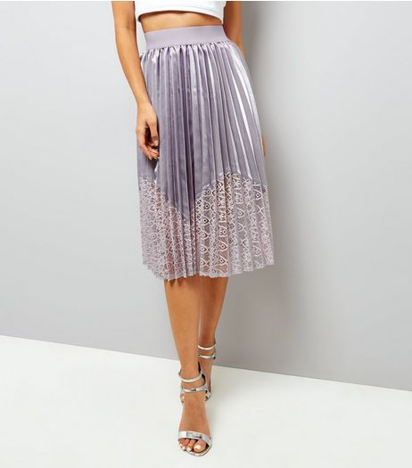 Mink Satin Pleated Midi Skirt  | New Look