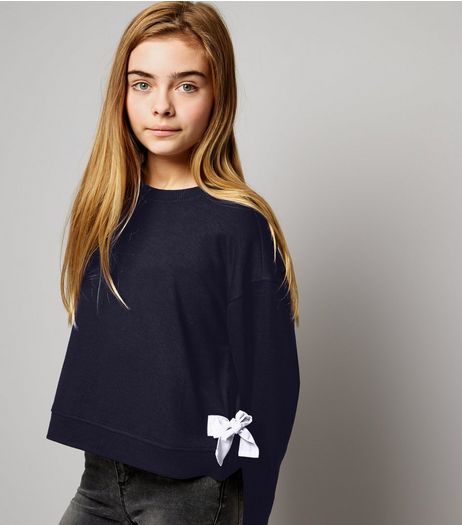Teens Navy Tie Side Sweater | New Look