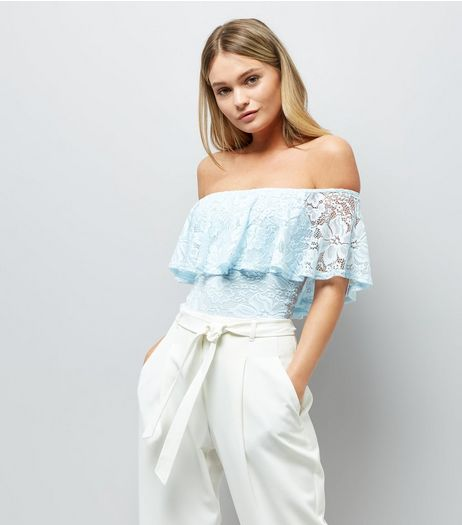 Blue Lace Frill Trim Bardot Neck Bodysuit | New Look