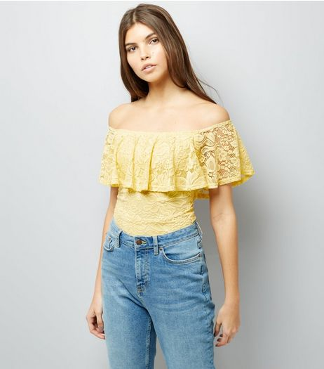 Yellow Lace Bardot Neck Bodysuit | New Look