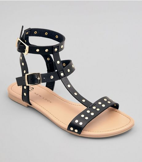 Teens Black Stud Strap Gladiator Sandals | New Look