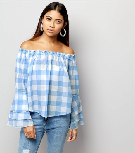 Blue Gingham Check Bell Sleeve Bardot Neck Top  | New Look