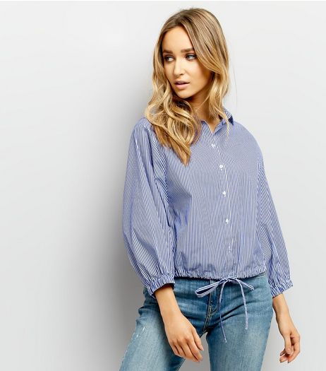 Blue Stripe Drawstring Hem Shirt  | New Look