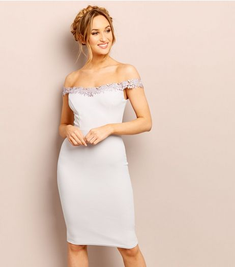 Lilac Lace Trim Bardot Neck Bodycon Dress | New Look
