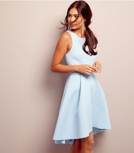 Pale Blue Ribbed Dip Hem Scuba Dress | New Look