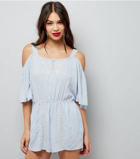 Pale Blue Embroidered Cold Shoulder Playsuit | New Look