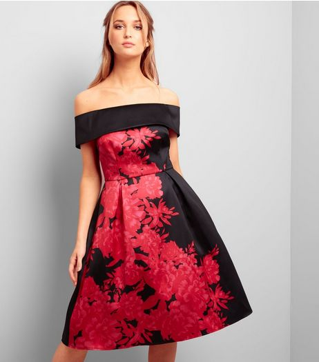 Black Floral Print Bardot Neck Satin Skater Dress | New Look