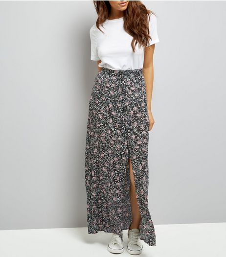 Black Ditsy Floral Button Front Maxi Skirt | New Look