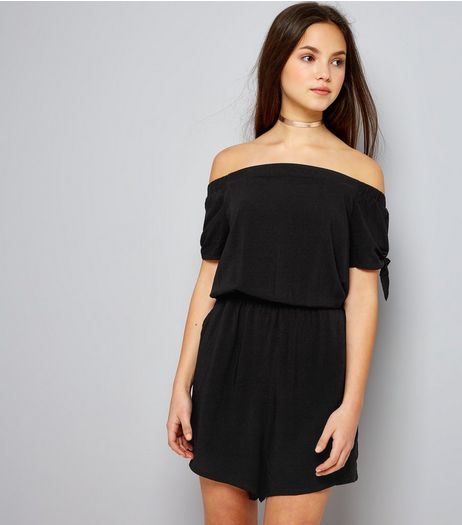 Teens Black Bardot Neck Tie Sleeve Playsuit | New Look