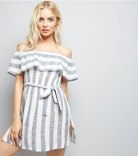 Blue Stripe Bardot Neck Beach Dress | New Look