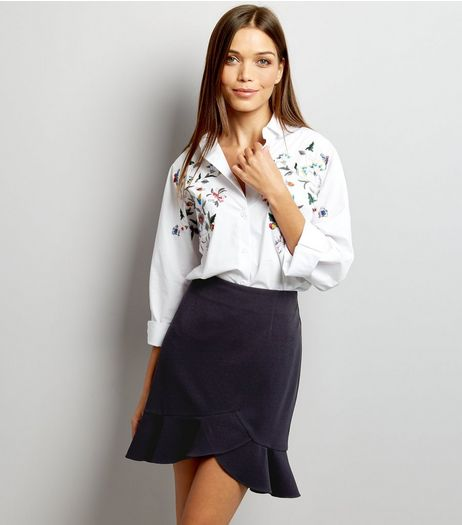 Navy Frill Hem Wrap Front Mini Skirt  | New Look