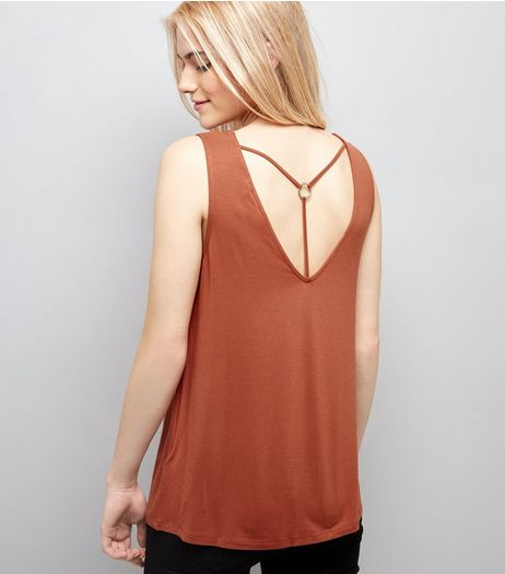 Light Brown Ring Trim Strap Back Vest  | New Look