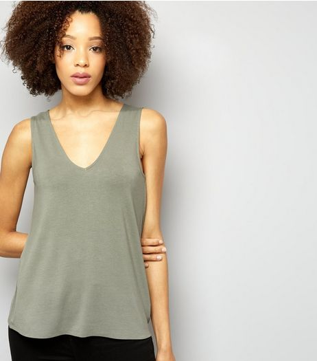 Olive Green Ring Back Vest  | New Look