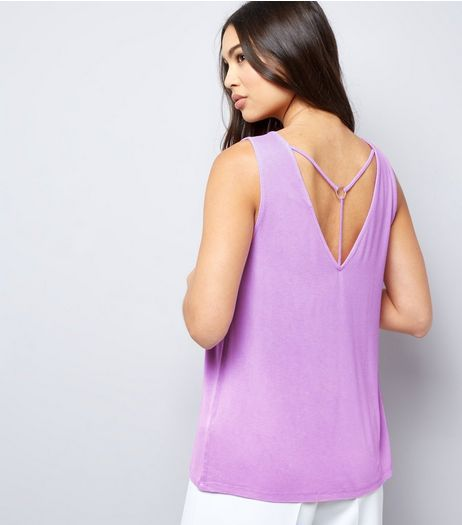 Light Purple Ring Trim Strap Back Vest  | New Look