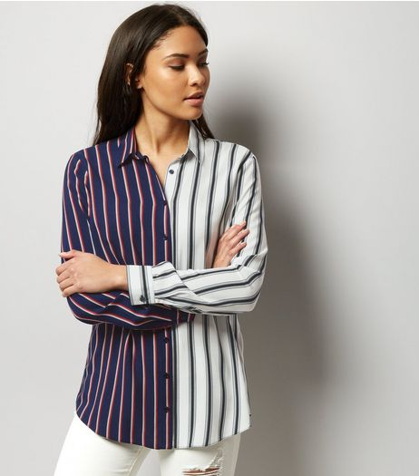 White Colour Block Stripe Long Sleeve Shirt  | New Look