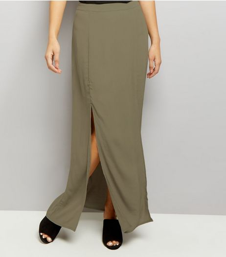 Khaki Split Side Maxi Skirt | New Look