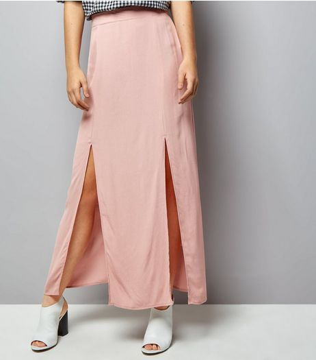 Pink Split Side Maxi Skirt | New Look