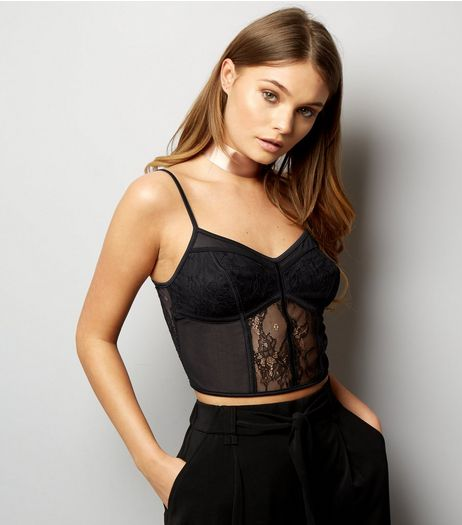 Black Mesh And Lace Longline Bralet | New Look