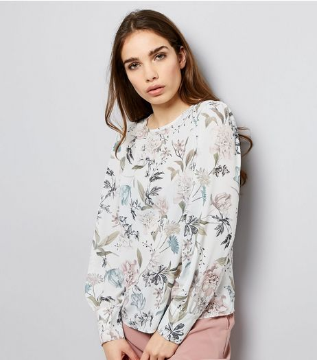 White Floral Print Long Cuffed Sleeve Top  | New Look