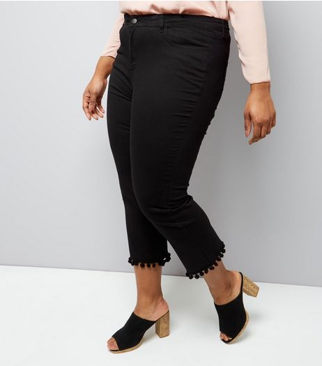 Curves Black Cropped Flared Pom Pom Hem Jeans | New Look