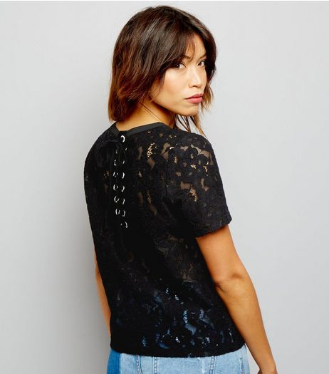Black Lace Back Short Sleeve Top  | New Look
