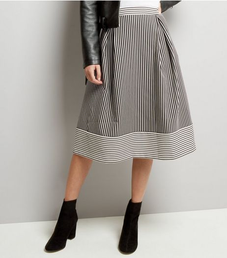Black Contrast Stripe Jacquard Midi Skater Skirt  | New Look