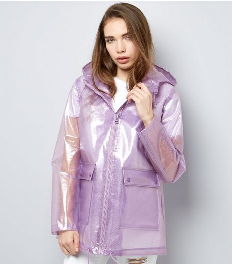 Lilac Glitter Hooded Anorak  | New Look