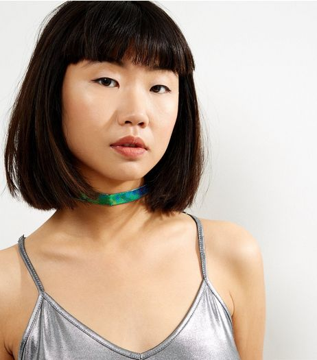 Green Holographic Snakeskin Choker | New Look