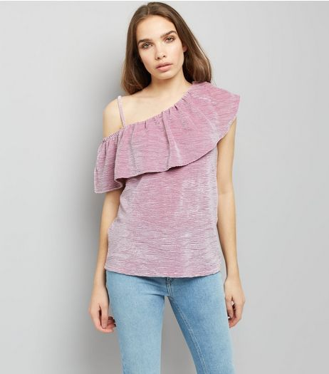 Lilac Velvet Off the Shoulder Top | New Look