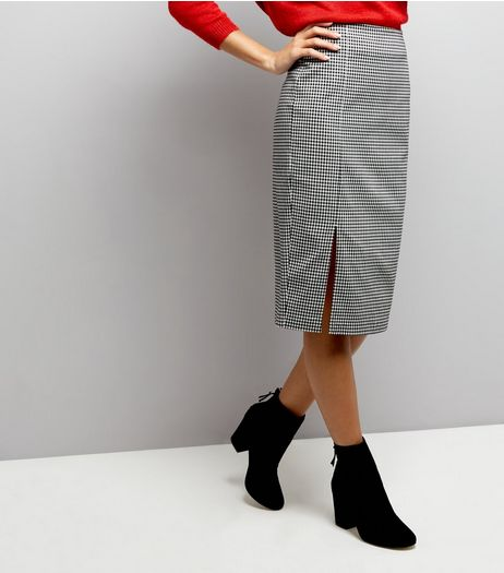 Black Gingham Side Split Pencil Skirt | New Look