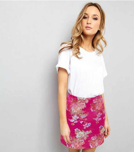 Pink Floral Jaquard Mini Skirt | New Look