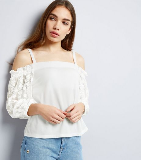Cream Embroidered Sleeve Bardot Neck Top  | New Look