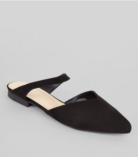 Black Pointed Strap Top Mules | New Look