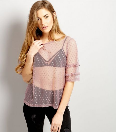 Lilac Spot Mesh Frill Sleeve Top | New Look