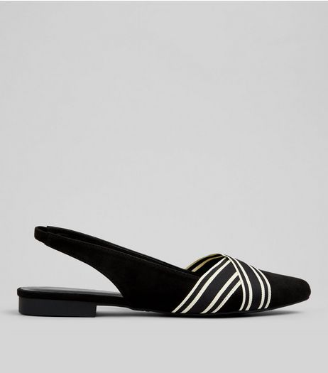 Black Cross Stripe Front Sling Back Sandals  | New Look