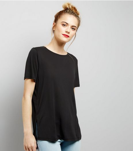 Black Short Sleeve Step Hem Longline T-Shirt  | New Look